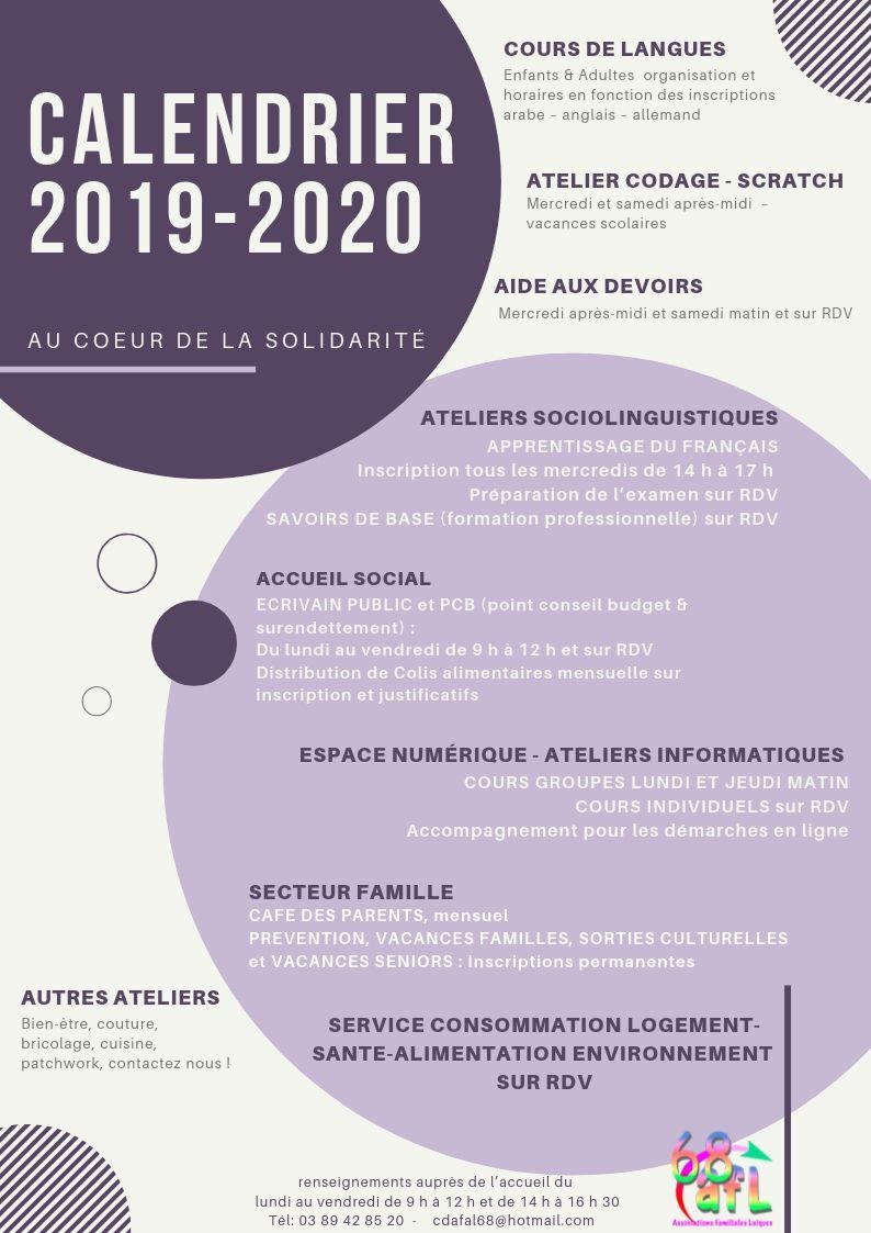 Calendrier Allemand 2020.Calendrier 2019 2020 Cdafal 68